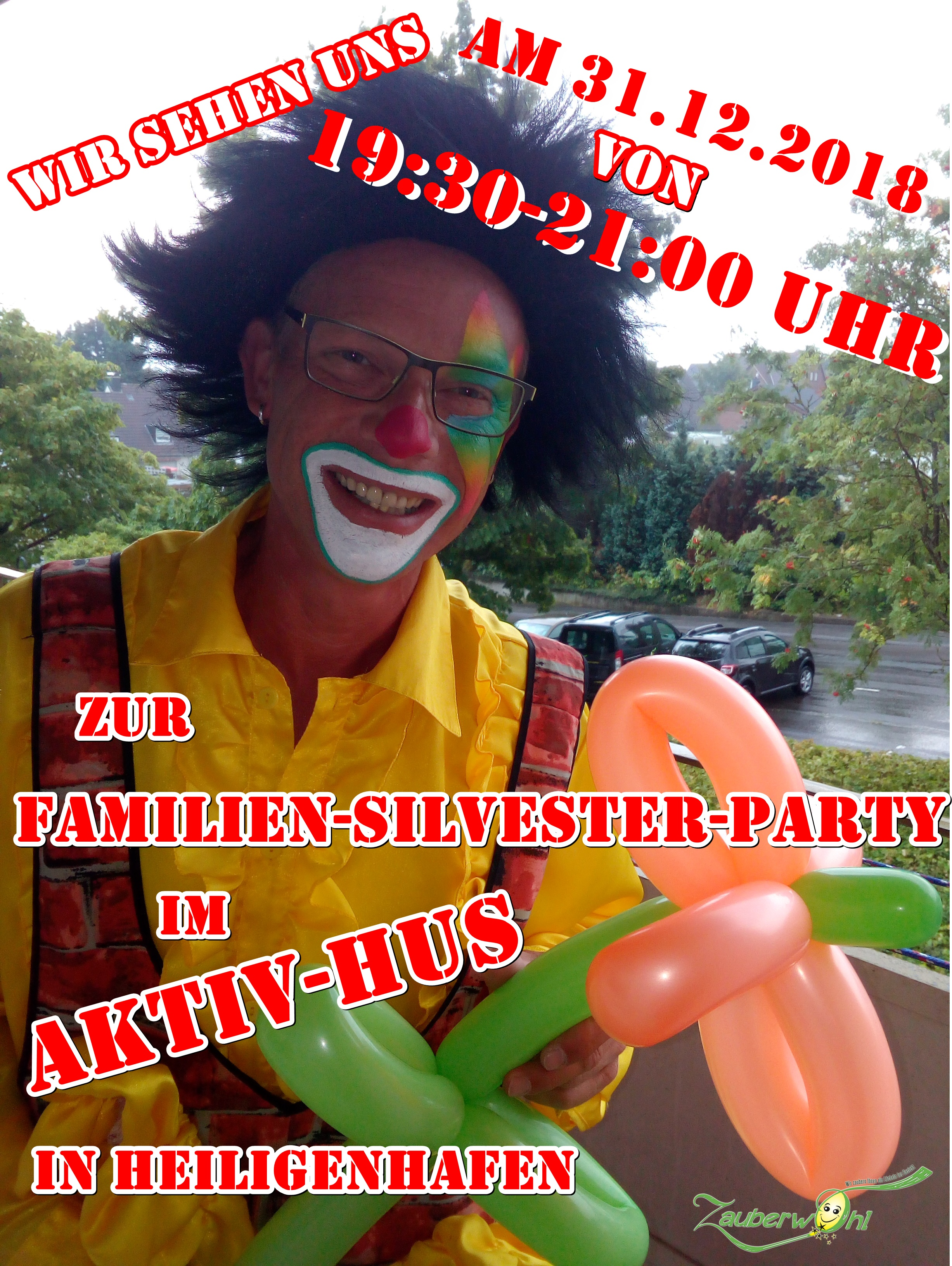 Silversterparty mit Clown Maurino