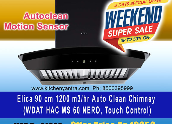 Elica WDAT HAC 60 MS NERO Auto Clean Wall Mounted Chimney