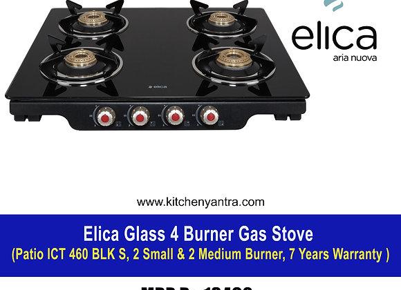 Elica Glass 4 Burner Gas Stove (Patio ICT 460 BLK S)