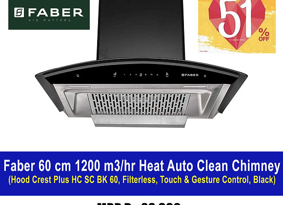 Faber Hood Crest Plus HC SC BK 60, Filterless, Touch & Gesture Control, Black