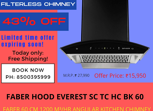 Faber 60 cm 1200 m³/hr Auto Clean Kitchen Chimney (HOOD EVEREST SC TC HC BK 60)
