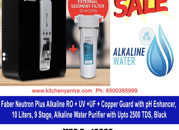 Faber Neutron Plus Alkaline RO + UV +UF + Copper Guard with pH Enhancer, 10 Lt
