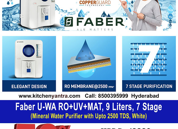 Faber U-WA RO+UV+MAT, 9 Liters, 7 Stage Mineral Water Purifier with Upto 2500 TD