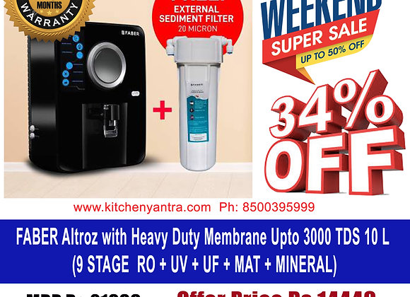 Faber Altroz (RO+UV+UF+MAT) with Heavy Duty Membrane Upto 3000 TDS, Black