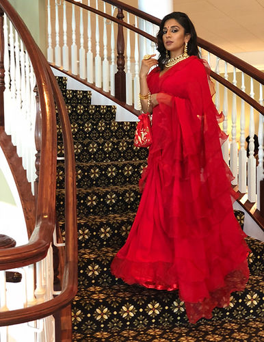 WxE Red Ruffle Sari