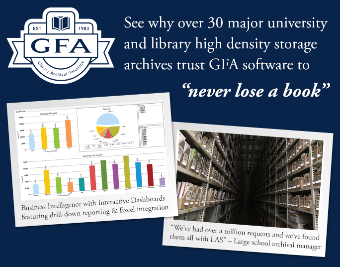 """See why over 30 major university adn library high density storage archives trust GFA software to """"never lose a book"""""""