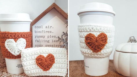 Crochet Heart Applique Cozy
