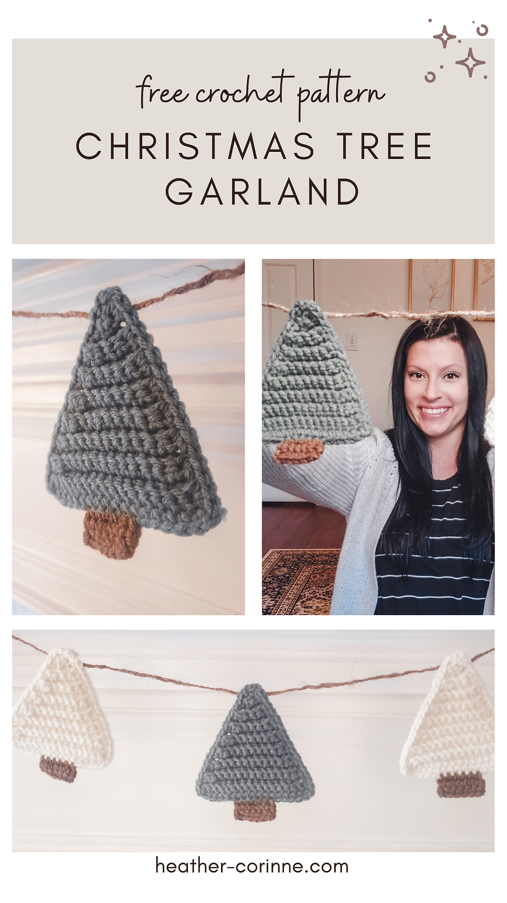 Pin this free pattern for the crochet christmas tree garland to your crochet board on Pinterest!