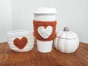 Heart Coffee Cozy - Free Crochet Pattern