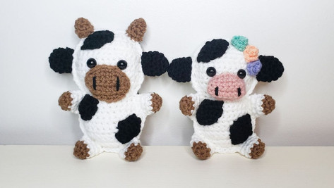 Crochet Cow Cuddler Set