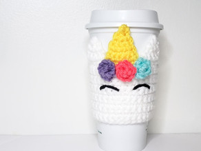 Unicorn Coffee Cozy - Free Crochet Pattern