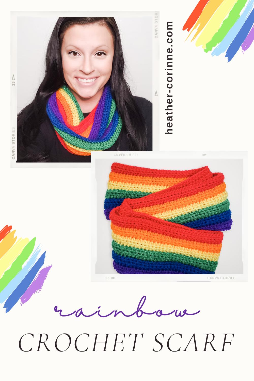 Rainbow Crochet Scarf free pattern Pinterest Pin