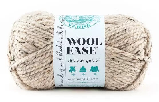 Lion Brand Wool Ease Thick & Quick Yarn in the color Oatmeal is used for the crochet ice cream cozy.