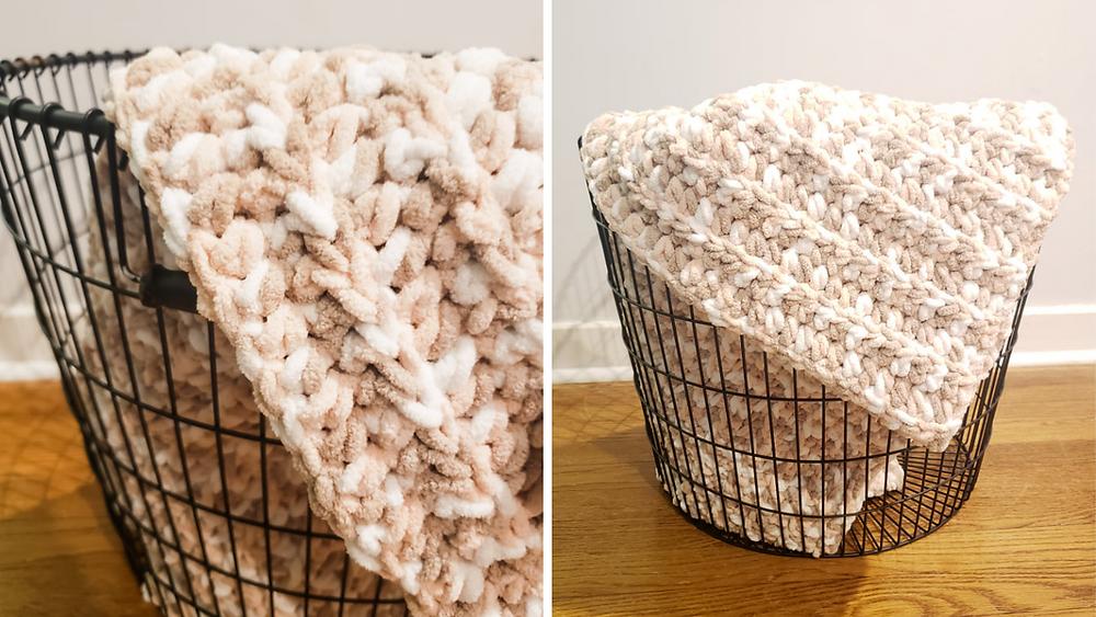 Crochet Beginner Baby Blanket displayed in a basket using Bernat Blanket Yarn in color Salmon Sand Varg.