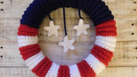 American Flag Wreath - Free Crochet Pattern