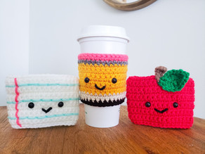 Crochet Teacher Gifts - Apple, Pencil & Paper Coffee Cozy