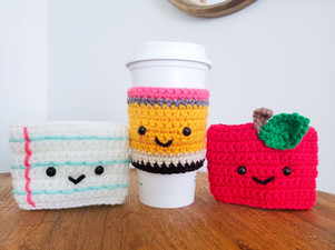 Crochet Teacher Gifts - Apple, Pencil & Paper Coffee Cozy