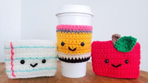 Crochet Teacher Gift - Apple, Pencil & Paper Coffee Cozy