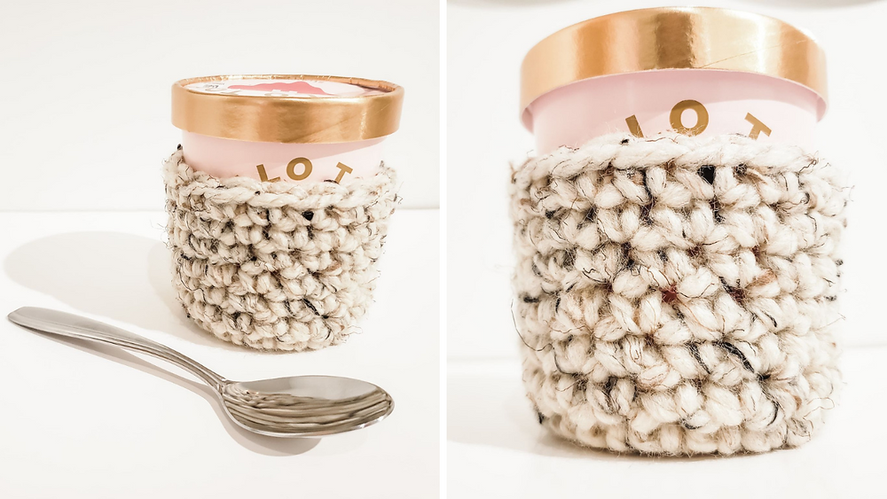 The crochet ice cream cozy is a free pattern here on the blog!