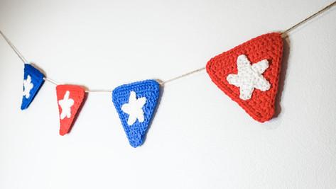 Patriotic Garland - Free Crochet Pattern
