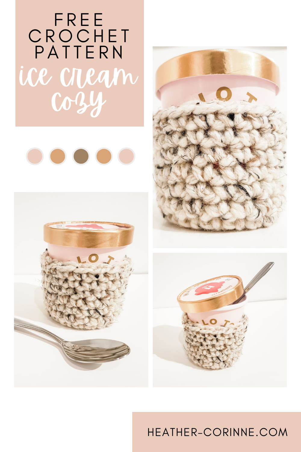 Pin the free pattern for my crochet ice cream cozy to your pinterest board.