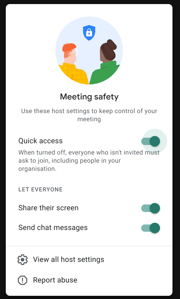 Google Meet Settings