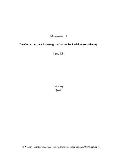 Die Gestaltung von Regelungsstrukturen im Beziehungsmarketing