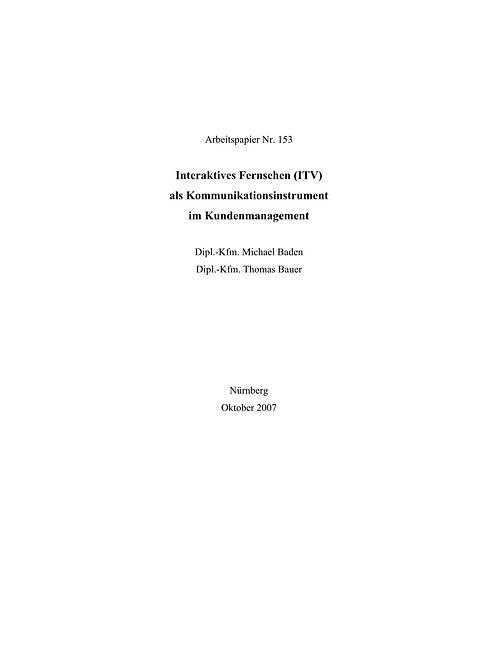 Interaktives Fernsehen als Kommunikationsinstrument