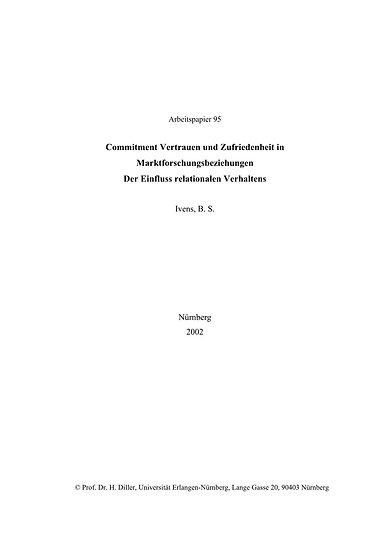 Commitment, Vertrauen und Zufriedenheit in Marktforschungsbeziehungen