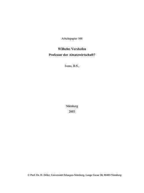Wilhelm Vershofen: Professor der Absatzwirtschaft?