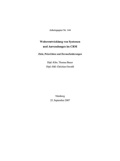 Weiterentwicklung von Systemen und Anwendungen im CRM