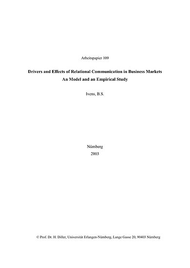 Drivers and Effects of Relational Communication in Business Markets