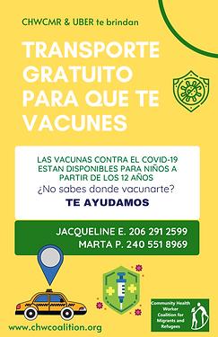 CHWCMR & UBER están trabajando juntos para que puedas vacunarte contra el COVID-19