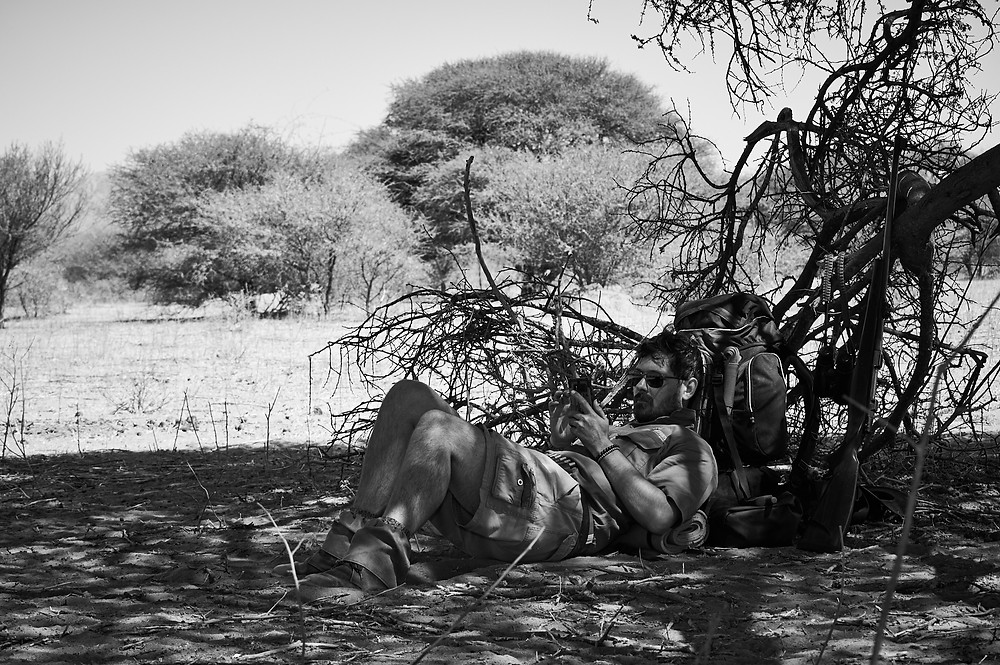 Resting in the African Sun - African Wilderness Guide on Trail