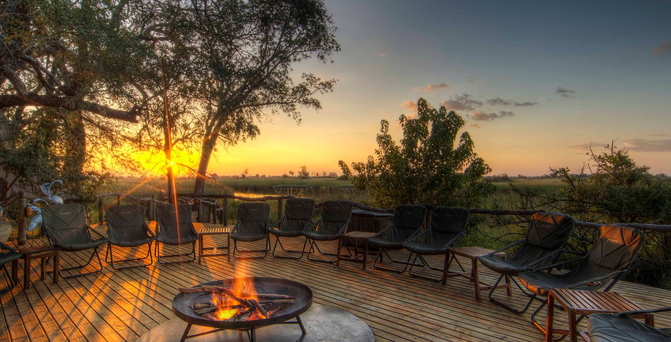 Ker & Downey Okavango Delta Okuti Camp - Outdoor Fireplace Deck