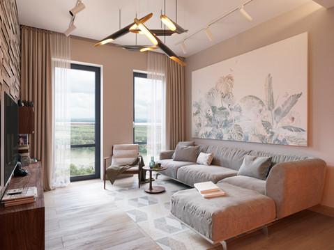 Интерьер квартиры в современном стиле в жилом комплексе Green Park г. Уфа