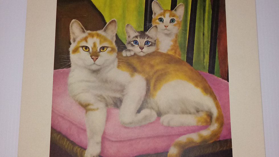 Domestic Shorthair Oil Painting By Girard Goodenow Womans Day 1965