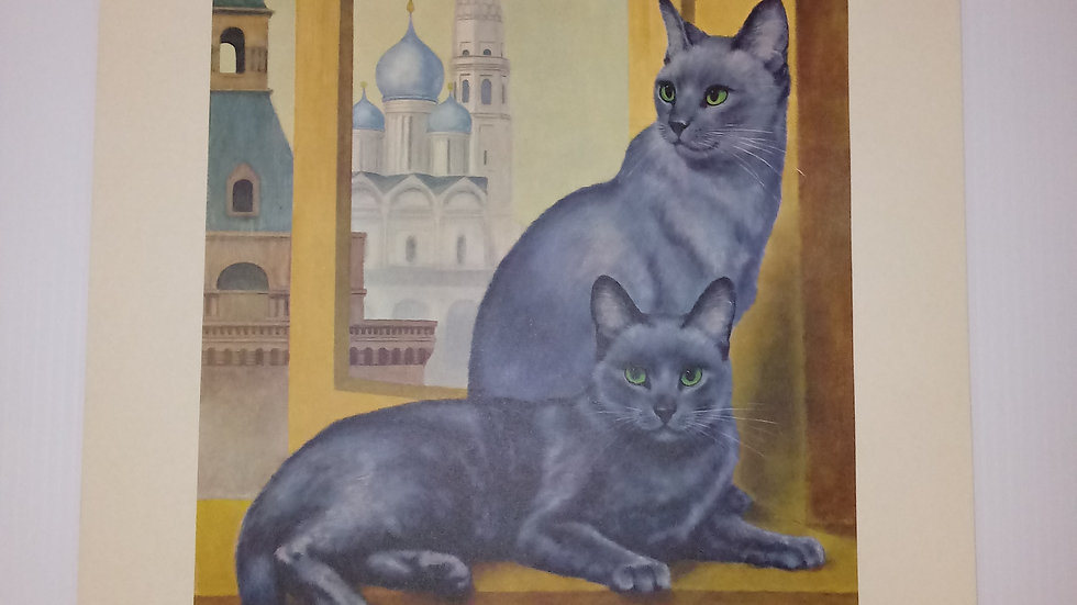 Russian Blue Oil Painting By Girard Goodenow Womans Day 1965