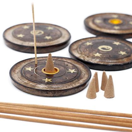 Mango Wood Disc (Cone & Incense)