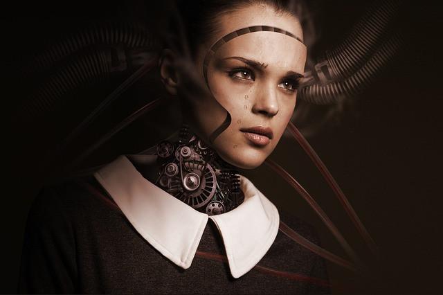Rapariga-robô triste a chorar