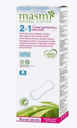 Penso Higiénico Ultrafino/Penso Diário Maxi _2 em 1_da Masmi Natural Cotton