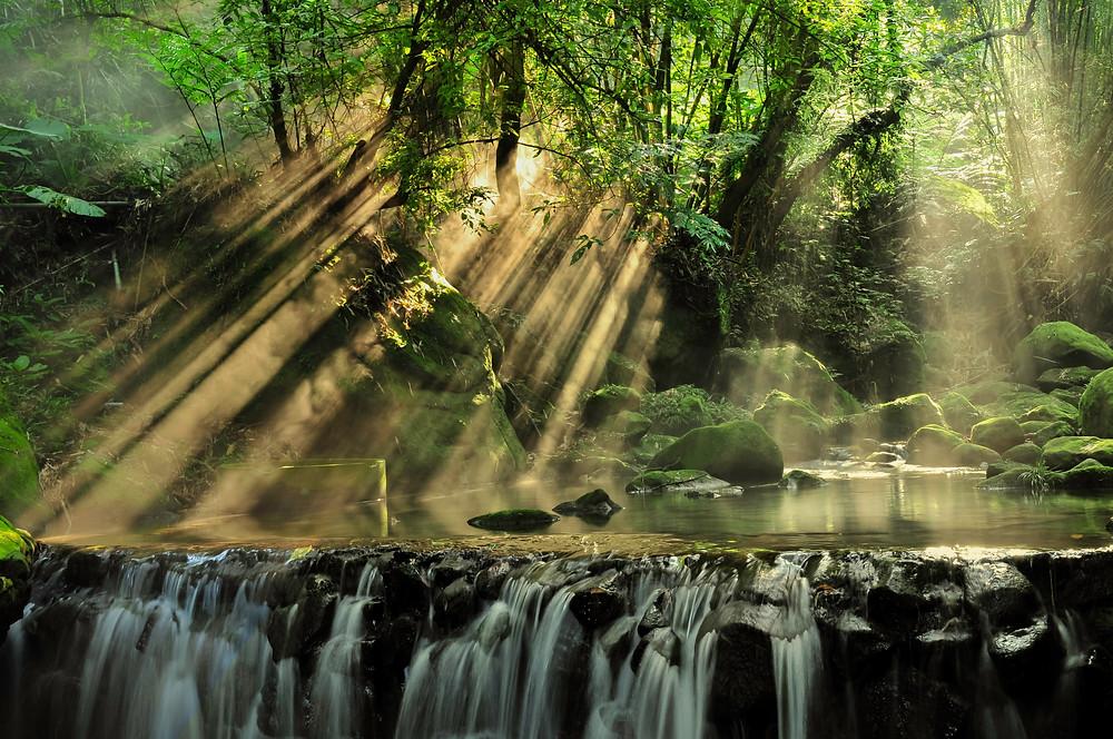 Scenic View of Rainforest-  beautiful-boulders-cascade