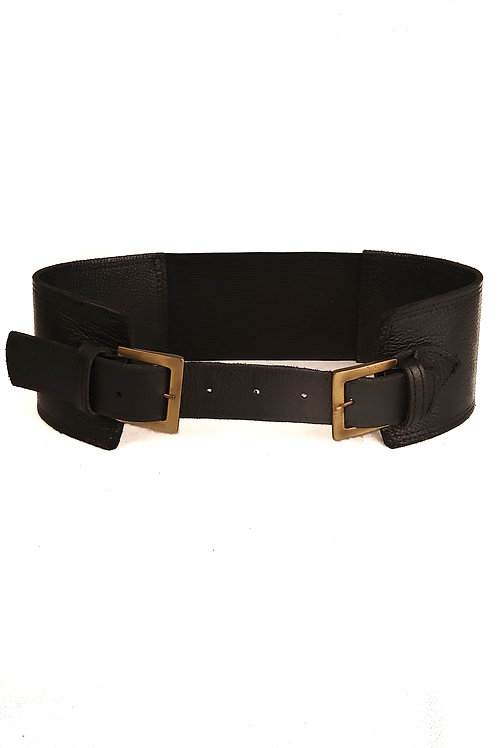 Handcrafted Black Leather Belt With Double Bronze Metal Buckle
