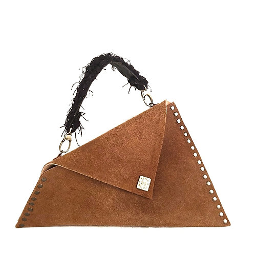 Handcrafted Suede Asymmetric Envelope Bag With Handle