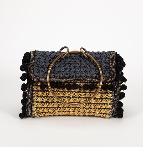 handmade crochet pochette with metallic