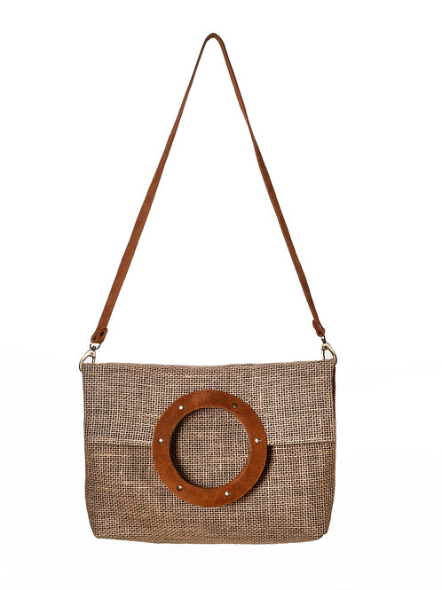 Handcrafted Suede & Canvas Shopping Bag