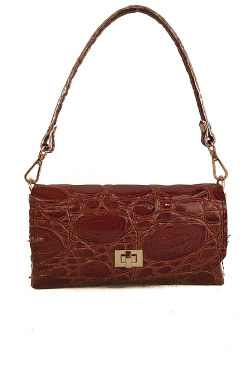 Handcrafted Brown Croco Belt Bag & Cross Body Bag