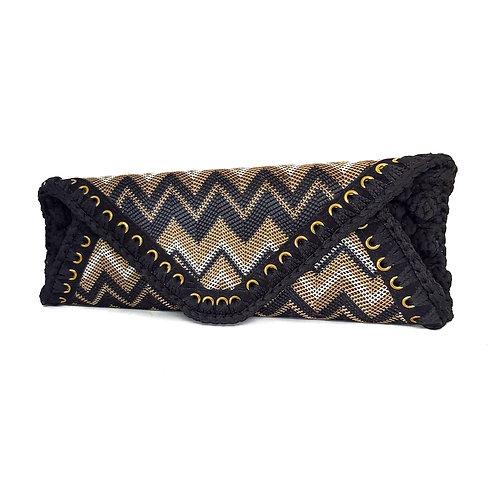 Handcrafted Leather & Crochet  Envelope Bag