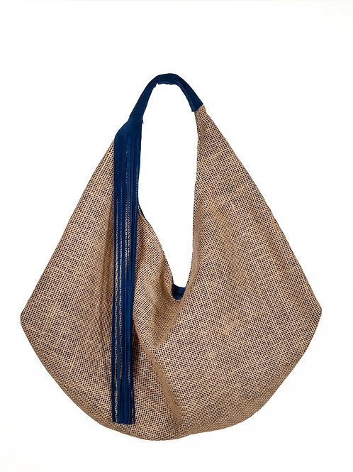 Handcrafted  Rounded shape Extra large  Suede and Canvas Shoulder Bag
