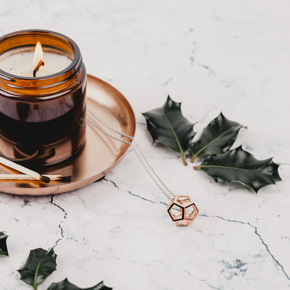 Necklace, Christmas candle and holly